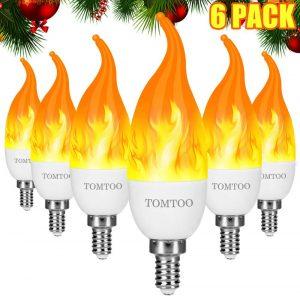 TOMTOO LED Flame Effect Light Bulb - Christmas E12 Base LED Candelabra Flame Light Bulbs