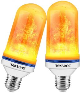 Texsens LED Flame Effect Light Bulbs - 4 Modes LED Flickering Fire Flame with Upside-Down Effect