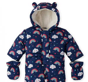 The Children's Place Baby Girls Hooded Snowsuit Set