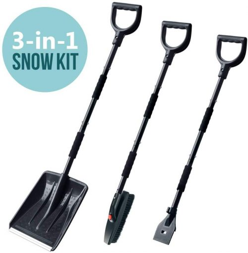 multi0fun Snow Brush Kit, 3-in-1 Snow Shovel