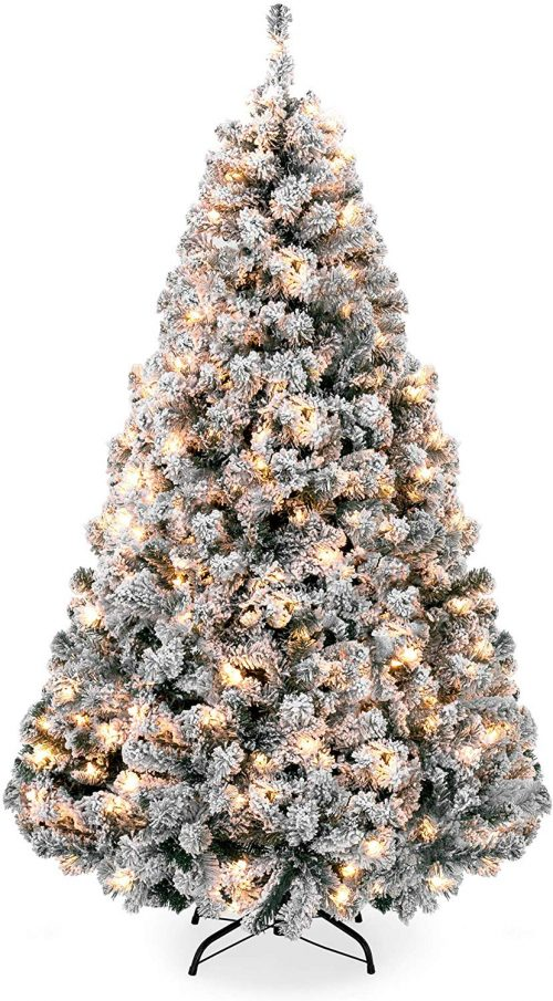 Best Choice Products 7.5ft Pre-Lit Snow Flocked Hinged Artificial Christmas