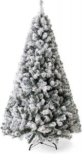 Best Choice Products 7.5ft Snow Flocked Hinged Artificial Pine Christmas Tree