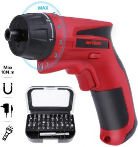 Cordless Electric Screwdriver, Meterk 10 N.m Rechargeable Power Screwdriver
