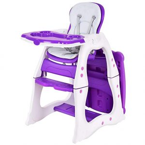 amazon baby high chair | Costzon Baby High Chair, 3 in 1 Infant Table and Chair Set, Convertible Booster Seat with 3-Position Adjustable Feeding Tray