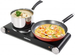 Cusimax Cast Iron Electric Hot Plate, 1800W Countertop Burner