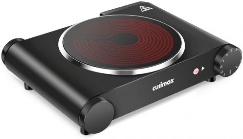 Cusimax Portable Electric Stove, 1200W Infrared Single Burner Heat-up In Seconds
