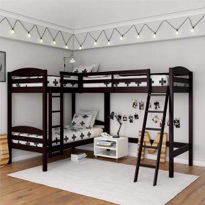 Dorel Living Clearwater Triple, Espresso Bunk Beds