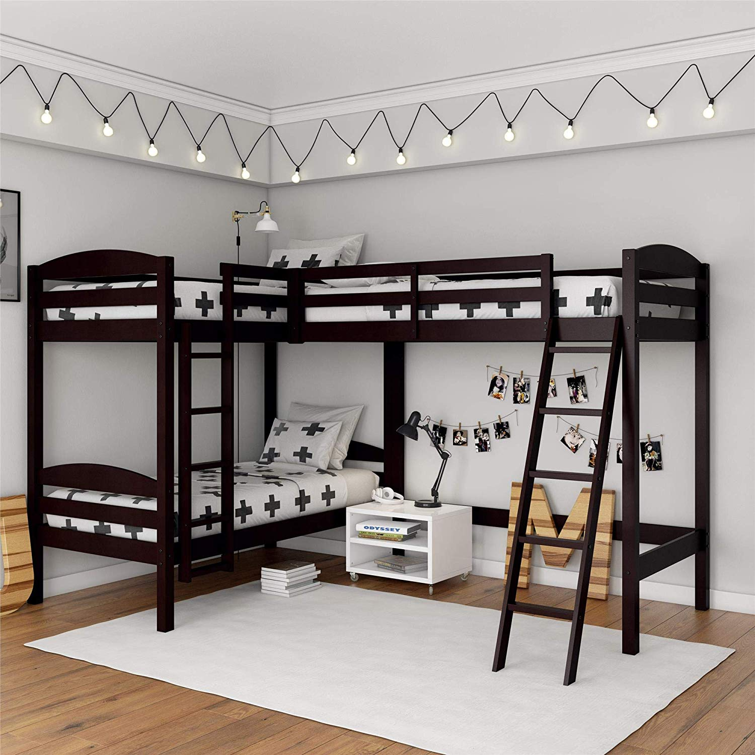 Dorel Living Clearwater Triple, Espresso Bunk Beds