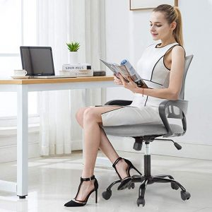 The executive swivel rolling chair is designed with a lumbar support to help reduce the back pain for both men and women