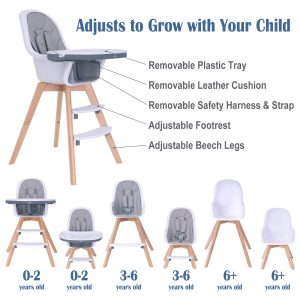 HM-Tech Baby High Chair come with double removable tray for baby, infants & toddlers