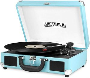 Victrola VSC-550BT-TQ is a 3-speed Bluetooth Record Player which come with a Suitcase to carry.