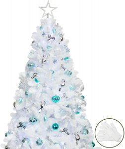 KI Store Artificial White Christmas Tree for office and home decoration.