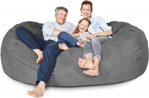 Lumaland Luxury 7-Foot Bean Bag Chair with Microsuede Cover Dark Grey