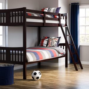 Storkcraft Caribou Solid Hardwood Twin Bunk Bed, Espresso Twin Bunk Beds for Kids