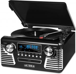 Victrola 50's Retro is a 3-speed Bluetooth Turntable music playing case.