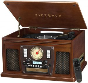 Victrola Navigator 8-in-1 can plays music in 8 functions including CD, Vinyl, MP3 and more.