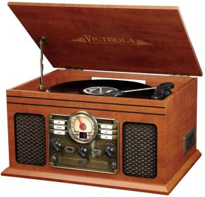 This record player is build with wood case with a classic looks and feel.