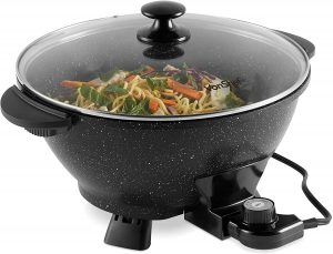 VonShef 7.4Qt Electric Wok with Lid – Adjustable Temperature Control – Cool Touch Handles