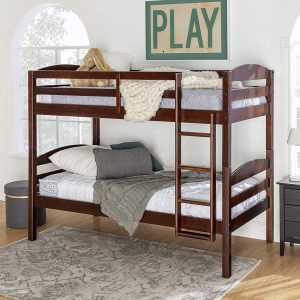 WE Furniture Classic Wood Twin Bunk Kids Bed Bedroom