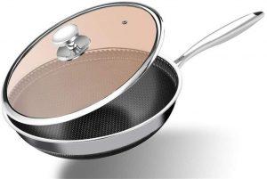 Wok, 304 stainless steel wok Pan Non-smoking wok honeycomb non-stick cooker
