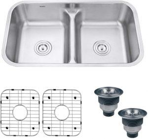 Ruvati 32-inch Low-Divide 50/50 Double Bowl Undermount 16 Gauge Stainless Steel Kitchen Sink