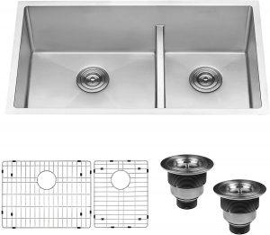 Ruvati 33-inch Low-Divide Undermount Tight Radius 60/40 Double Bowl 16 Gauge Stainless Steel Kitchen Sink