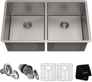 Kraus Standart PRO 33-inch 16 Gauge Undermount 50/50 Double Bowl Stainless Steel Kitchen Sink