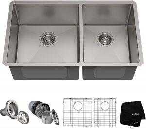 Kraus Standart PRO 33-inch 16 Gauge Undermount 60/40 Double Bowl Stainless Steel Kitchen Sink