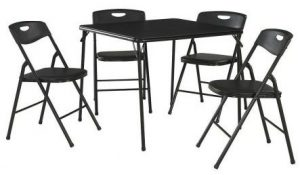 Cosco 5-Piece Folding Table and Chair Set in Black