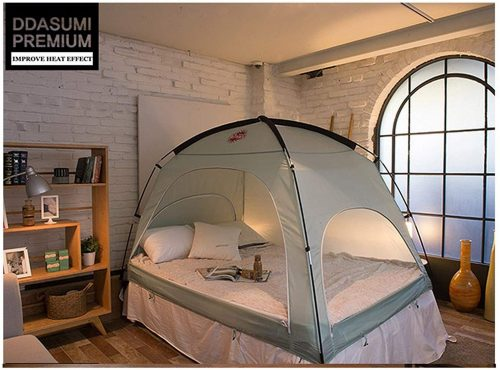 DDASUMI Warm Tent For Double Bed Without Floor (Mint) - Blocking Cold air