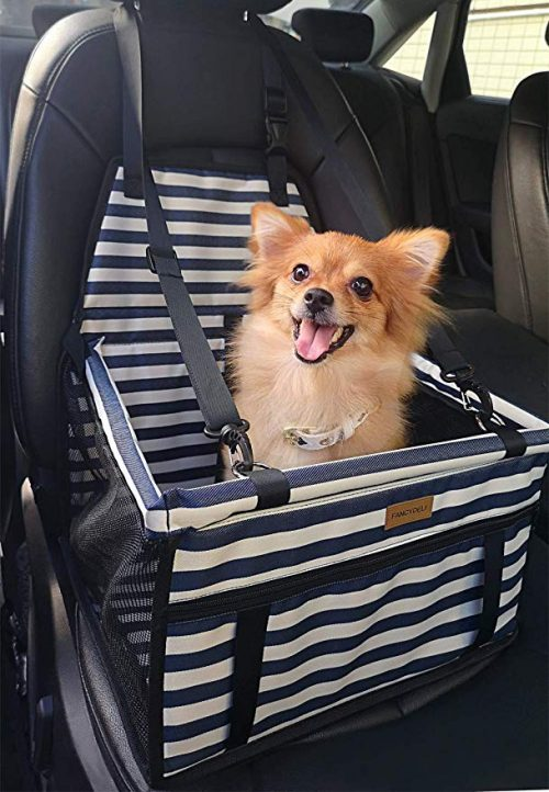 FANCYDELI Puppy Car Seat Upgrade Deluxe Portable Pet Dog Booster Car Seat with Clip-On Safety