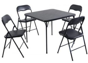 Giantex 5PC Black Folding Table Chair Set Guest Games Dining Room
