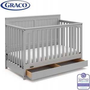 Graco Hadley 4-in-1 Convertible Crib with Drawer,Pebble Gray