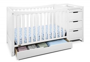 Graco Remi 4-in-1 Convertible Crib and Changer, White, Easily Converts