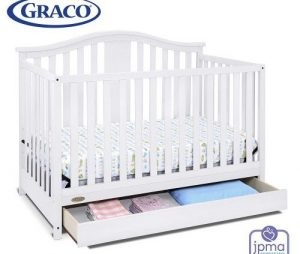 Graco Solano 4-in-1 Convertible Crib with Drawer, White, Easily Converts
