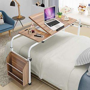 Greensen Adjustable Overbed Table with Wheels, Rolling Mobile Computer Desk Standing Workstation Laptop
