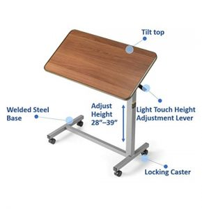 If you look for an overbed table which is adjustable with height and tilt top, get this Invacare one.