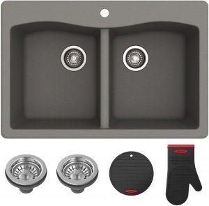 Kraus Forteza Granite Kitchen Sink, 33 Inch, KGD-52GREY
