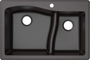 Kraus KGD-442BLACK Quarza Granite Kitchen Sink, 33-inch, Black