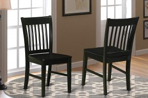 Norfolk Wooden Dining Chair with Seat Black Finish form East West Furniture