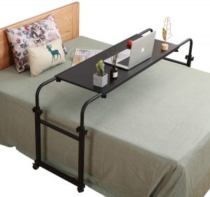 Overbed Table with Wheels | Overbed Desk | Over Bed Desk King Queen Bed