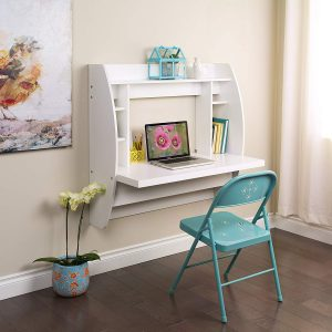 Prepac Floating Desk with Storage | Wall Mounted Table