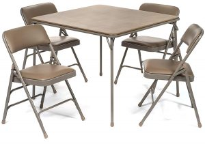 XL Series Vinyl Folding Card Table and Chair Set (5pc) | Comfortable Padded Upholstery for Easy Cleaning