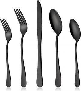LIANYU black silverware set comes with 20 pieces of stainless steel flatware cutlery set of 4 and dishwasher safe