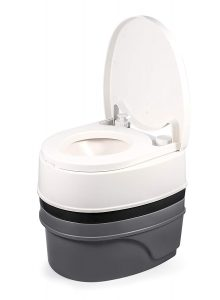 Camco Premium Portable Travel Toilet | Mobile Toilet Designed for Camping, RV, Boating and Other Recreational Activities