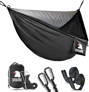 Covacure Camping Hammock with Mosquito Net is a Lightweight Double Hammock and can Hold Up to 772lbs. It is a Portable Hammocks for Indoor, Outdoor, Hiking, Camping, Backpacking, Travel, Backyard, abd Beach.