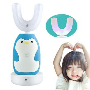FEISIKE U-Shaped Toothbrush is a 360° Automatic Electric Toothbrush for Kids with 2 Braces of Different Ages