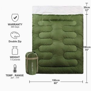 FARLAND Sleeping Bag   car camping sleeping bag   sleeping bag for cold weather camping