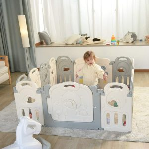 Good playpen for active toddler to moving around and play inside.