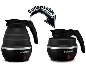Gourmia GK360 electric kettle is foldable and collapsible for bringing along on the trip